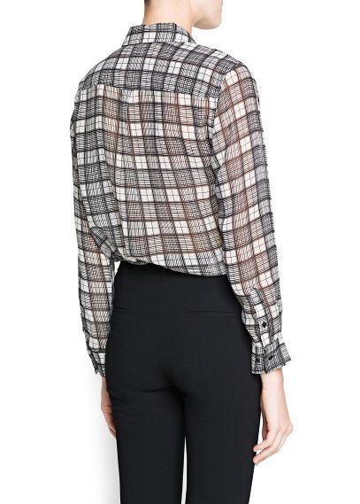 MANGO - NEW - Check chiffon shirt