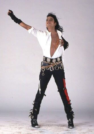 pants michael jackson waist belt arm bracelet white button up top