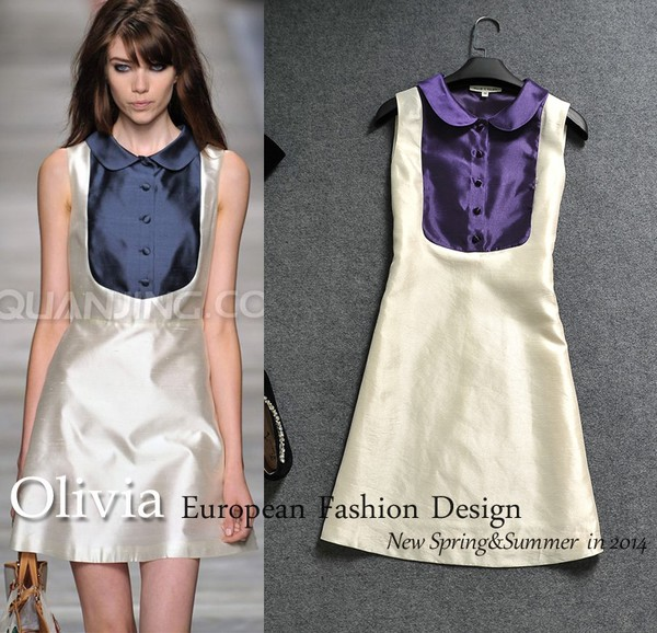 high quality runway temperament vintage silk sleeveless turn down collar high street mini dress dress