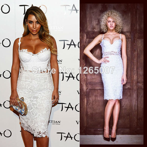 Aliexpress.com : Buy Kim Kardashian Spaghetti Traps Sweetheart White Lace Two Piece Designer Celebrity Dress Special Occasion Dress Fashion Elegant from Reliable dress pants fashion suppliers on SFBridal