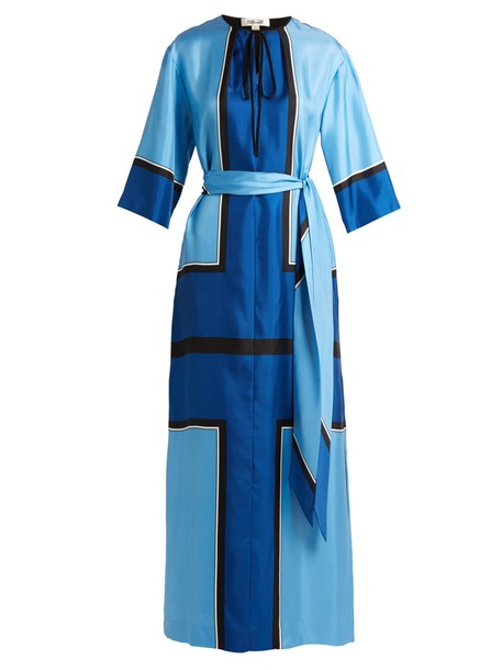 dress maxi dress maxi print silk satin blue