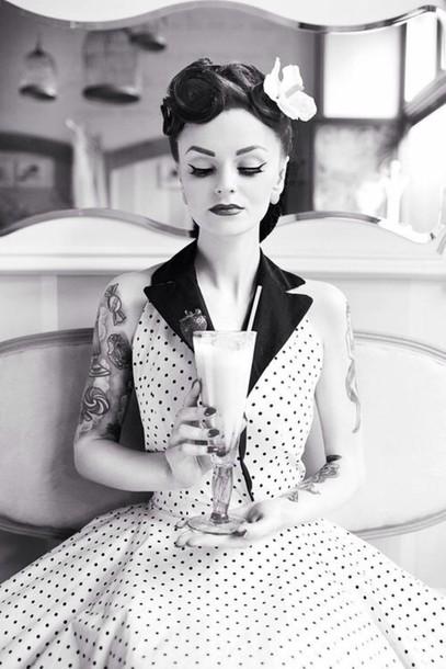 dress, polka dots, rockabilly, pin up, vintage, retro ...