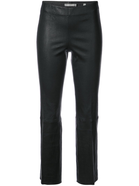 Vince pleated cropped women leather black pants