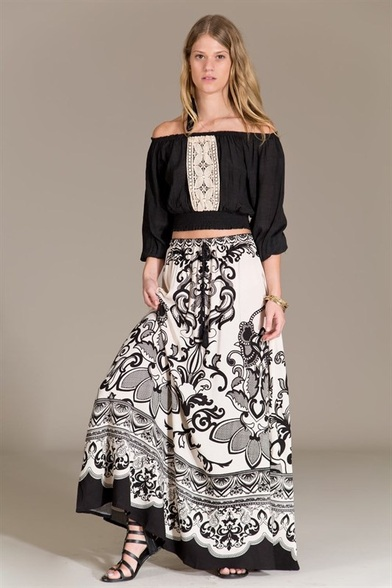 Piece print maxi skirt