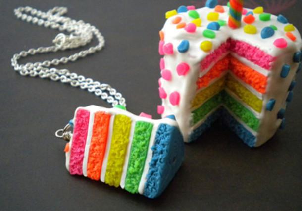 jewels rainbow cake necklace