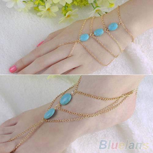 PUNK BRACELET SLAVE CHAIN LINK FINGER RINGS HAND HARNESS TURQUOISE ANKLE CHAIN