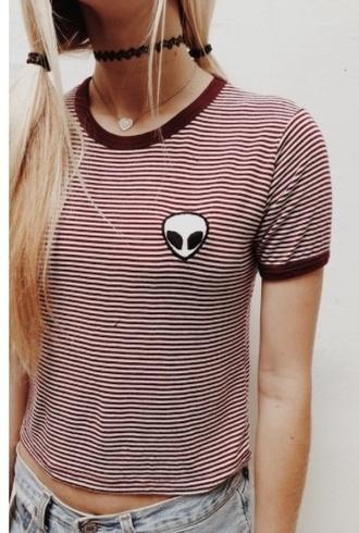 top stripes alien patch shirt indie patchwork grunge t-shirt grunge jewelry hippie boho striped top striped dress jewels