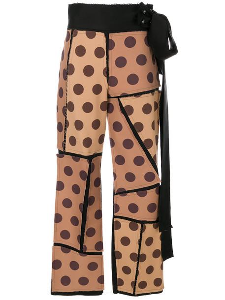 LOEWE women wool brown pants
