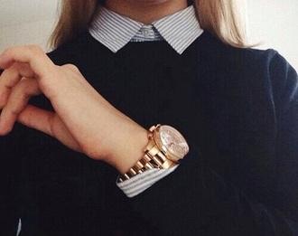 sweater black blue girl watch