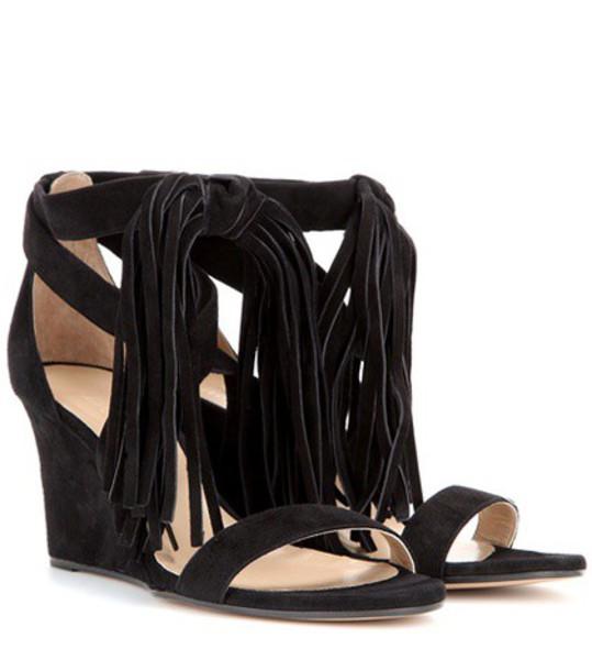 Chloe sandals wedge sandals suede black shoes