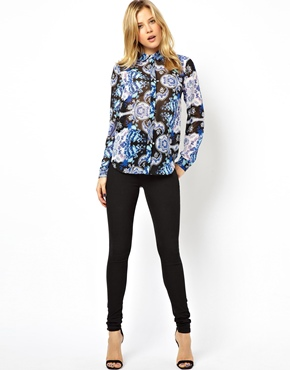 ASOS Petite | ASOS PETITE Blouse in Blue Tapestry Floral Print at ASOS
