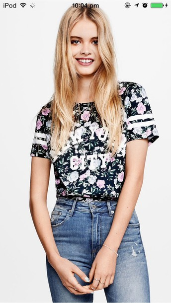 t-shirt flowered shorts floral tank top jeans new york city