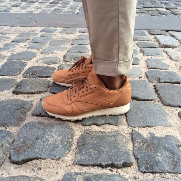shoes, reebok, tan, sneakers - Wheretoget