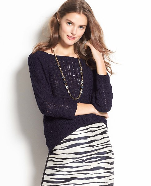 Back Zip Textural Sweater | Ann Taylor
