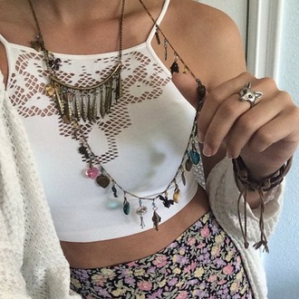 tank top hippie boho indie cardigan jewels skirt