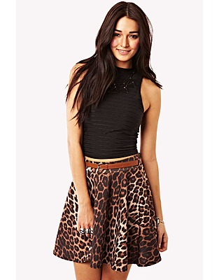 Leopard Print Skater Skirt April 2017
