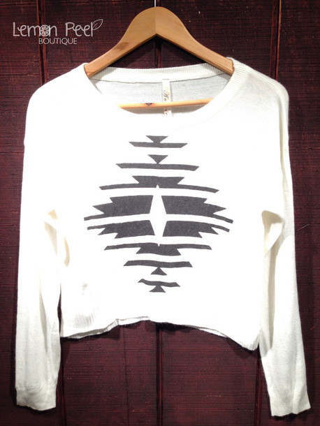 sweater aztec cropped sweater white sweater