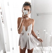 romper,white romper,cut-out dress,dress,white,cut-out,cute dress,cute,cute outfits,cream,cream dress,spring outfits,spring,summer,summer outfits,summer dress,pretty,tumblr,instagram,summer nights,short sleeve,lovely grey playsuit,grey,playsuit short,jumpsuit,beautiful,casual,one piece,georgeous,lovely,spaghetti strapped,cutout romper,strappy romper,strappy,flowy
