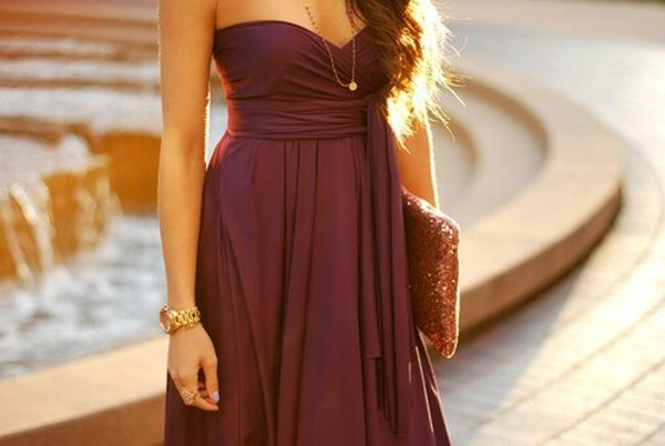 dress strapless dress gold jewelry watch