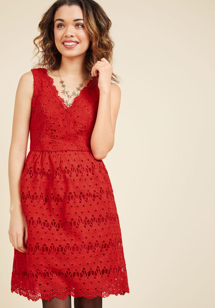 AFA572 skirt flare style midi elegant scalloped fit lace red