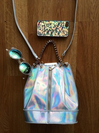 bag camera bag girly holographic sunglasses
