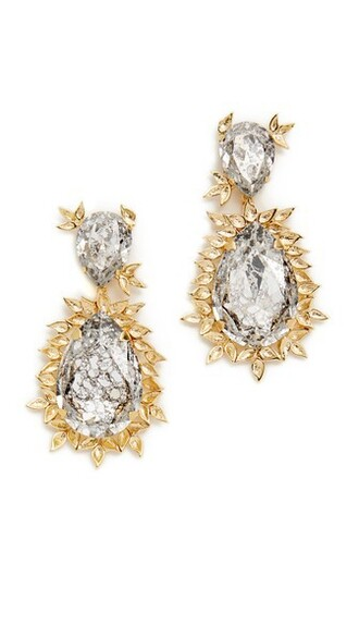 embellished earrings gold grey jewels