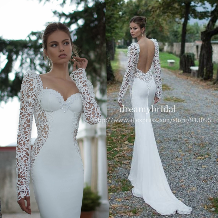 Aliexpress.com : Buy Vestidos De Noiva 2014 Sexy open back Long Sleeves Sheer Lace Mermaid Wedding Dresses Satin Bride dress Weddings & Events Gown from Reliable dress magazine suppliers on Suzhou dreamybridal Co.,LTD