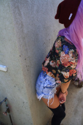 blouse,floral,black,hipster,flowers,shorts,underwear,ripped,denim,love,socks,high,over the knee,shirt,frayed,jacket,neff,floral shirt,High waisted shorts,clothes,vintage,burgundy,blonde hair,tumblr,sweater,floral top denim shorts,flower shirt,jeans,rose,skater,skater girl