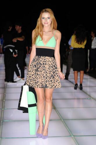 dress bella thorne fashion week 2014 lepoard print