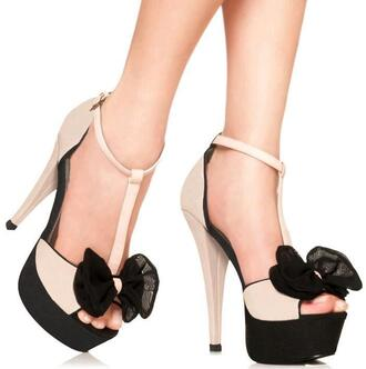 shoes nude high heels nude high heels bow shoes black shoes heels heels with bows black bows cute girly
