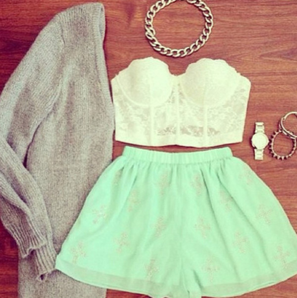 skirt lace shirt sweater