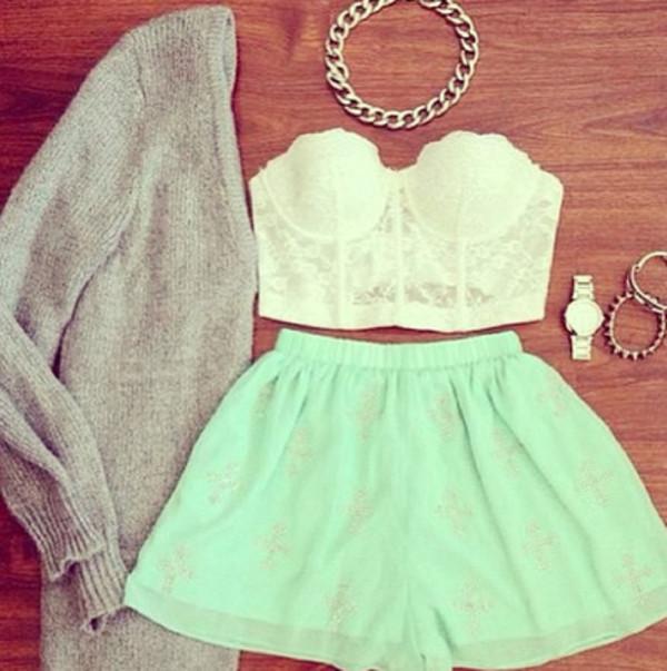 skirt lace shirt sweater