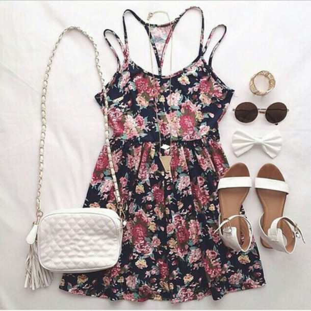 bag dress floral dress fashion floral cute summer dress summer outfits thanks hair accessory jewels shoes