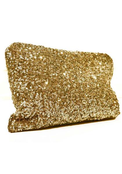 Sequins gold clutch