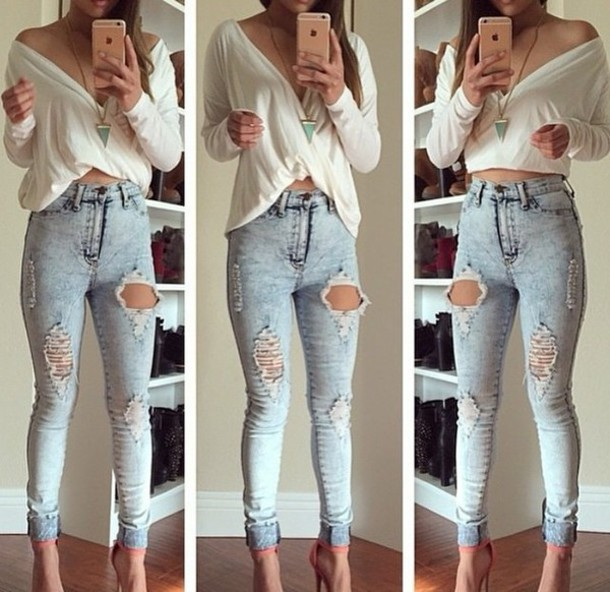 Blouse: white shirt, jeans, ripped jeans, criss cross shirt, jeans ...