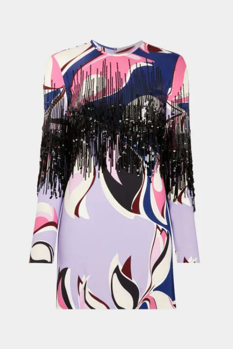Heliconia Print Sequin Fringe Mini Dress