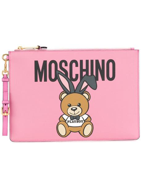 Moschino women clutch purple pink bag
