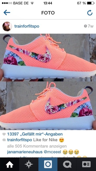 shoes nike roshes floral pink flowers cute shoes cute style trendy sportswear sports shoes
