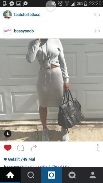 sweater two-piece grey sweater grey skirt grey
