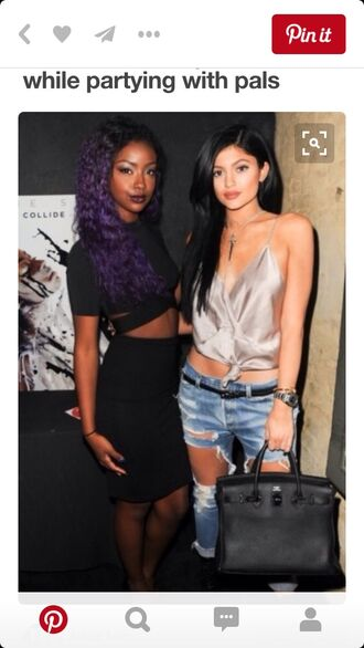jeans kylie jenner silver grey top crop tops ripped jeans black bag black crop top black skirt purple hair shirt