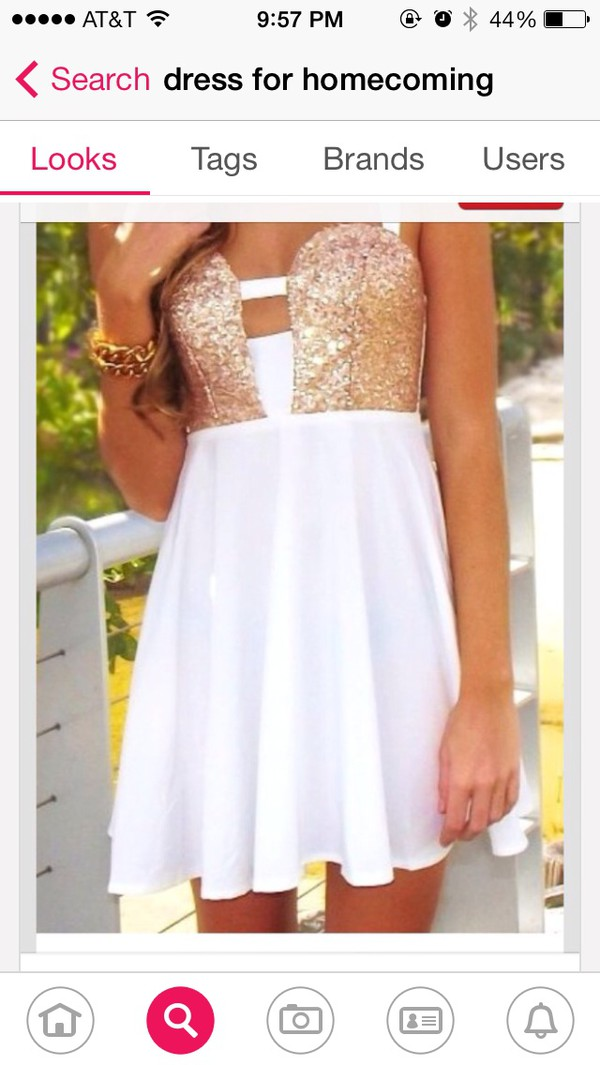 white dress gold sequins semi formal