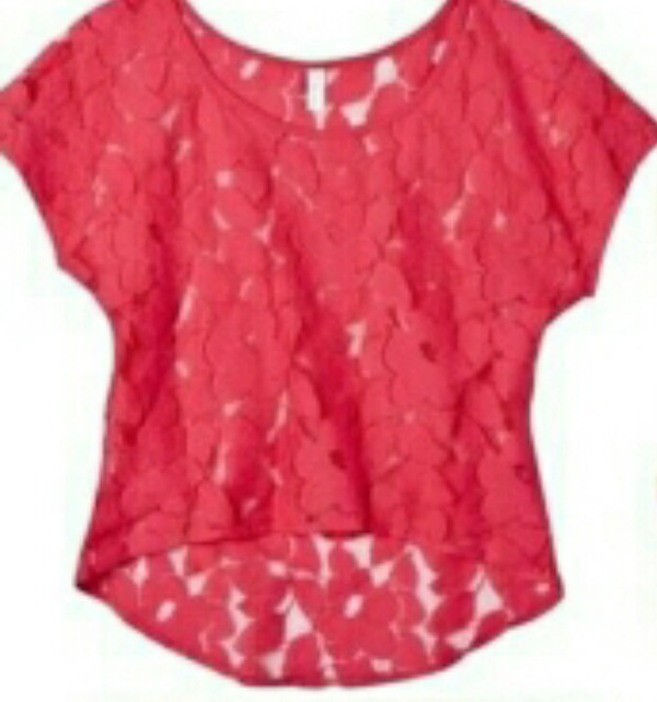 t-shirt blouse shirt coral red top lace top