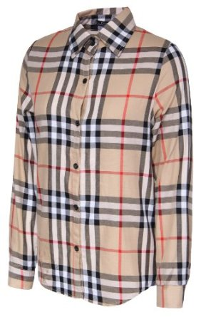Amazon.com: Gamiss Women's British Turn-down Collar Plaid Button-down Blouse, Khaki, Regular Sizing 6: Clothing