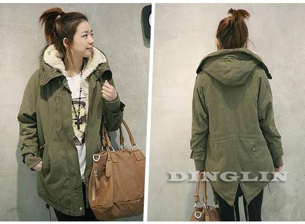 Women Military Fleece Zipper Hooded Parka Coat Long Jacket s M L ...