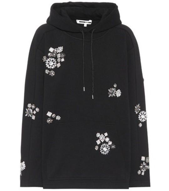 hoodie embellished cotton black sweater