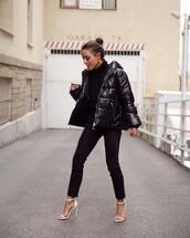 jacket,black jacket,puffer jacket,jeans,black jeans,sandals,high heel sandals,black turtleneck top,turtleneck,earrings