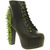Jeffrey Campbell LITA PLATFORM ANKLE BOOT BLACK LTHR GREEN SPIKES Shoes - Womens Ankle Boots Shoes - Office Shoes