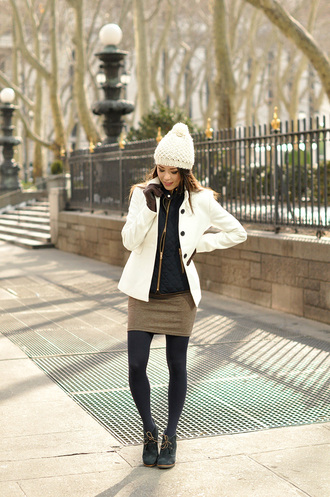 hapa time blogger hat coat jacket dress tights shoes