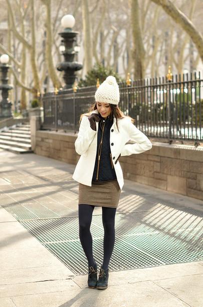 hapa time blogger hat coat jacket dress tights shoes