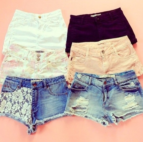 shorts flowered shorts high waisted denim shorts denim shorts white lace shorts